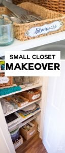 Affordable tips to help you make the most of a small closet. I made this coat closet into my china closet. Check out how to use small baskets to help you stay organized, plus free printable labels to download and make to label your stuff.