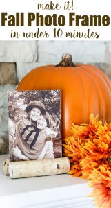 Yay... it's September! Back to schedules and projects including 10 Minute Decorating ideas with a group of creative home decor loving bloggers. I made a fall photo frame using birch logs and a dollar store frame. See all the fall inspired ideas on the blog today.