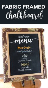 Menu Chalkboard with free printable menu categories in decorative font. Hang or use on an easel for your kitchen or when entertaining.