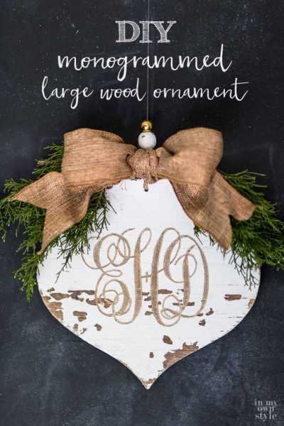 Distressed & Carved Wood Monogrammed Ornament