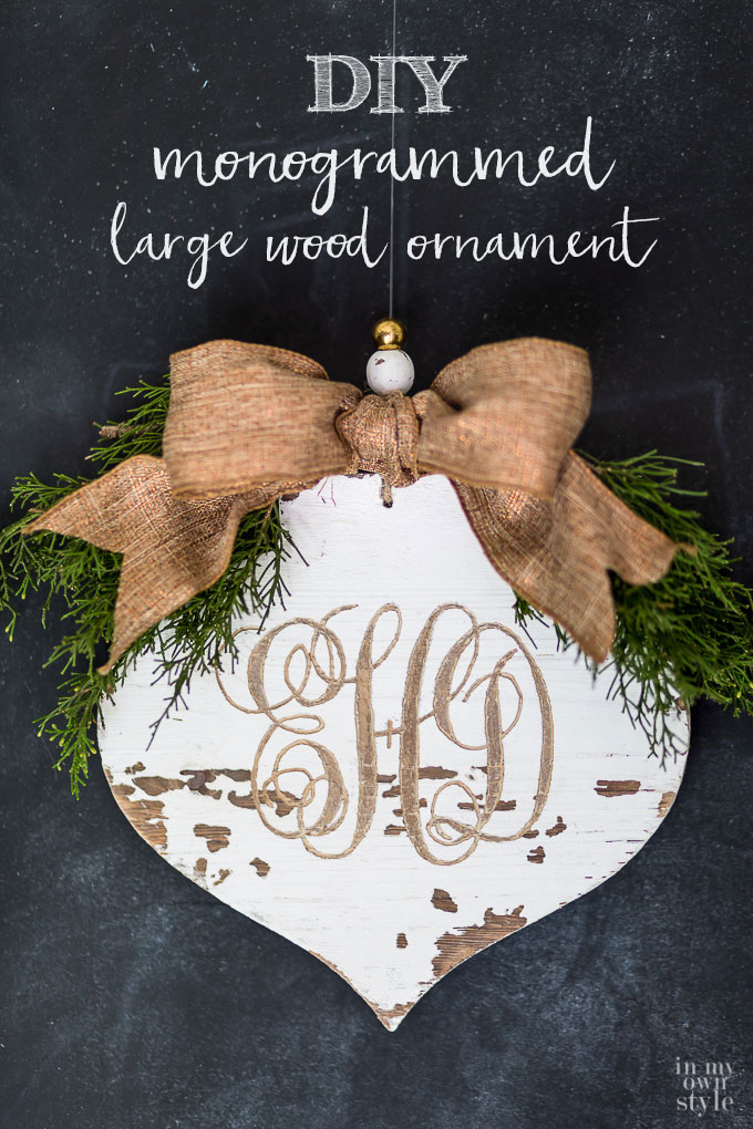 How to carve a monogram into a wooden cut out ornament to decorate your house or give as Christmas gifts