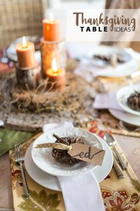 Thanksgiving table setting ideas using fabric and nature.