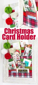 DIY Christmas card holder to display holiday cards all season long. It uses ribbons.