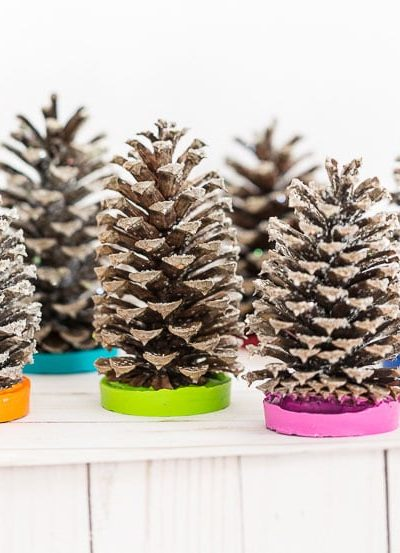 Colorful Christmas Scented Pine Cone Trees
