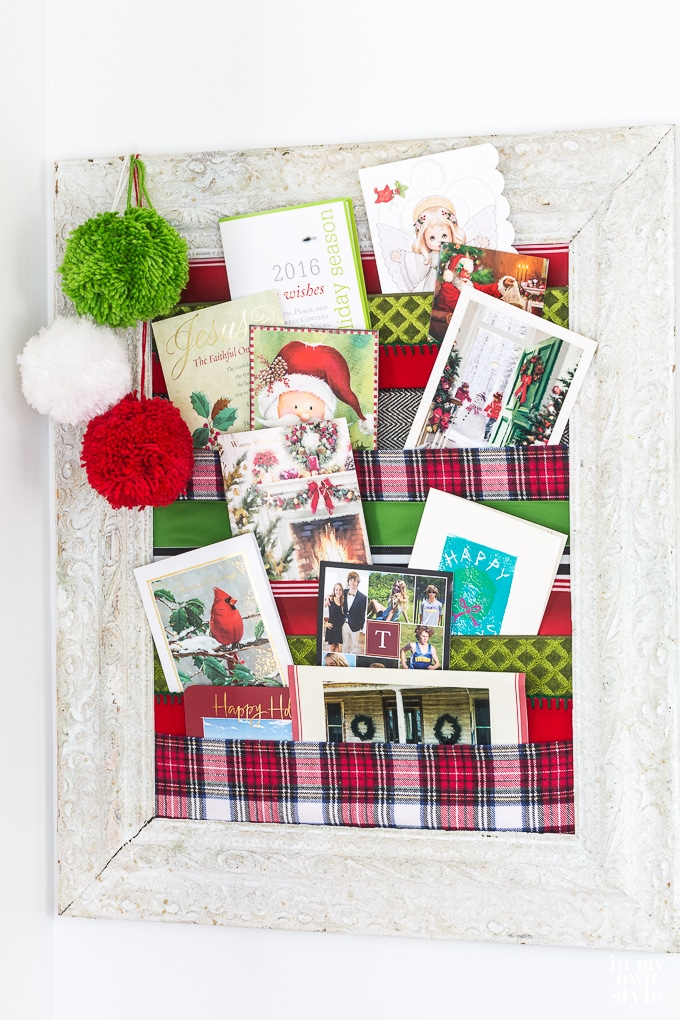 DIY Christmas card holder to display holiday cards you receive all season long.