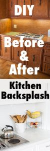 Before and after DIY kitchen backsplash makeover using white subway. You won't believe how the homeowner turned a dated and brown kitchen into a light and bright one on a dime.