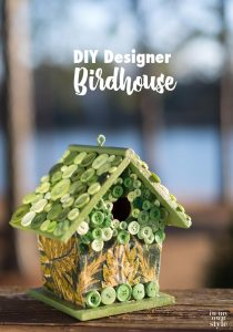 Decorate and paint a designer birdhouse. Craft idea for decorating a birdhouse with paint, fabric, and buttons.