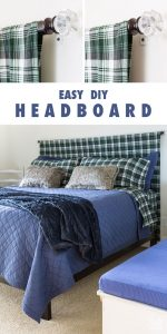 Easy headboard to make for any bed. DIY headboard to make in under 15 minutes.