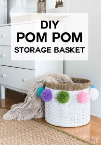 DIY Pom Pom Baskets to make for decorative storage and home organization.