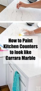 Kitchen countertop painting to look like white Carrara marble. Giani Countertop painting kit review.