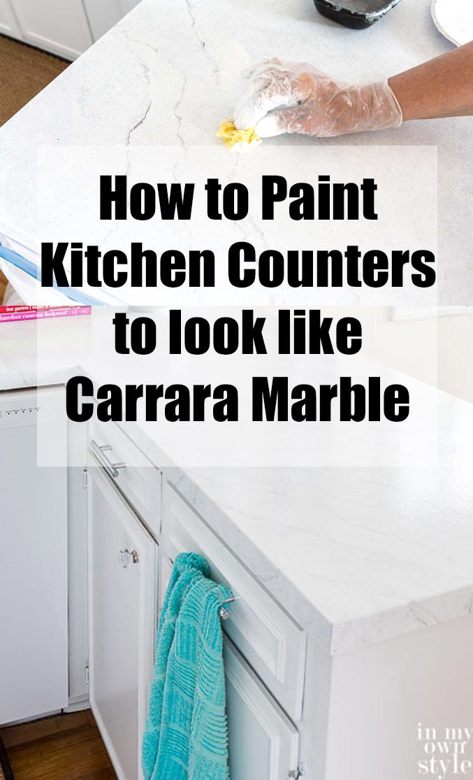 How to paint faux Carrara marble in a kitchen counter