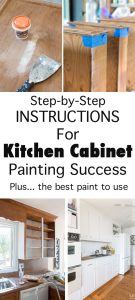 This is the kitchen cabinet how to post you have been looking for. It covers everything you need to know to paint your kitchen cabinets so the paint finish will last for years. Painting kitchen cabinets white. Tips and tricks as well as do and dont's.