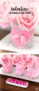 DIY Valentine's Day idea for flower vases using drinking glasses and fabric.