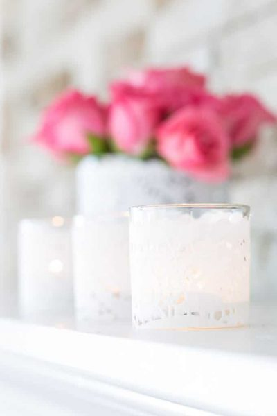 Valentine Decorating with Paper Doily Candles