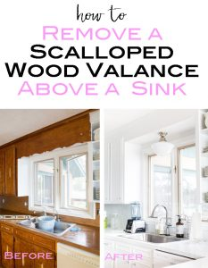 Before and after kitchen where the dated wood valance over the kitchen sink was removed. This post shows you how to do it.