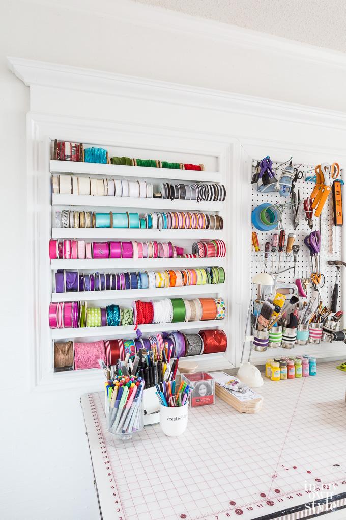craft room Storage idea for spools of ribbon