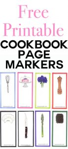 Free Printable Illustrated Cookbook markers for foodies and anyone who loves cookbooks and recipes.