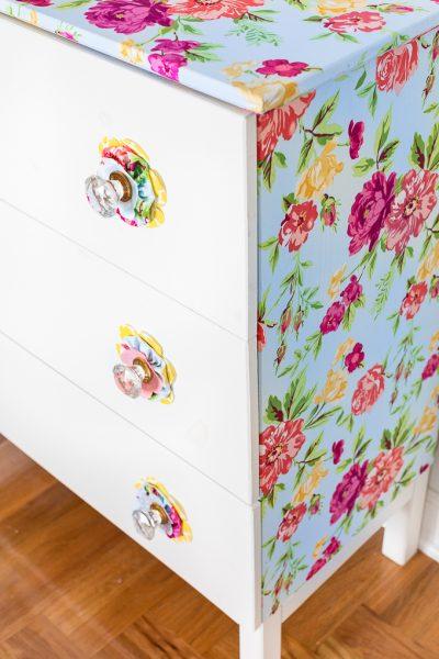 Furniture Makeover Using Fabric + Liquid Starch