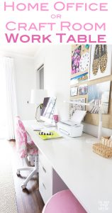 Craft room work table DIY. Decorating and organizing ideas for craft rooms and home offices.