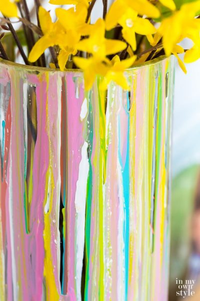Painted Glass Vase for Springtime Decorating