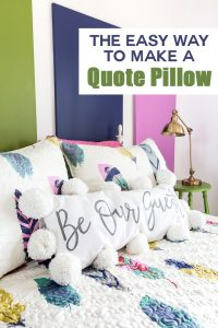 This DIY tutorial will give you step-by-step instructions to making the most adorable (and custom!) quote pillows around! Choose your quote, print it and then use a sharpie or paint on any type of plain pillow cover. Add some pom-poms and you have one unique and adorable pillow that