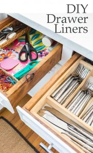 DIY drawer liners. No need to buy expensive shelf or contact paper when you can make your own DIY drawer liners using your favorite decorative paper or fabric.