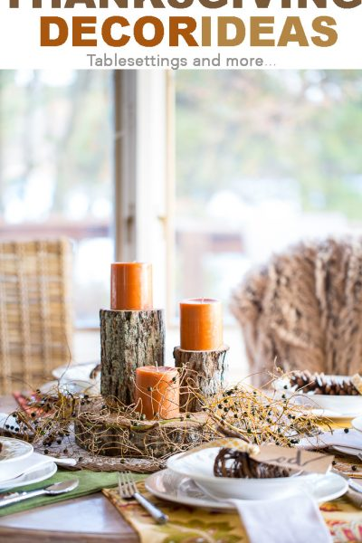 Thanksgiving table setting and decorating ideas. Autumn and fall decor.