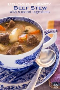 Beef Stew recipe that has a secret ingredient in it that makes it extra delicious and hearty for a cold winter's night meal.