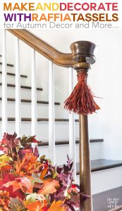 Fall decorating ideas using raffia. Make harvest tassels to decorate all around the house. Step by step photo tutorial shows you how.
