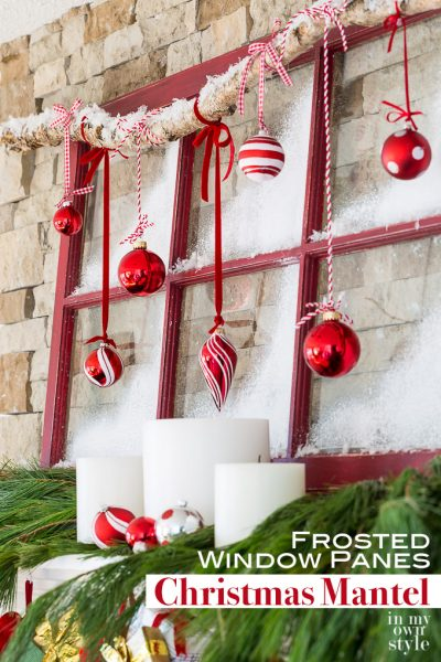 Christmas Mantel Decorating: Frosted Window Panes