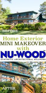 How to makeover the exterior of a home using millwork and shutters from Nu-Wood products. Faux wood millwork for home exteriors and interiors. Home Improvement projects. #nuwood #homeimprovement #exteriorhomemakeover