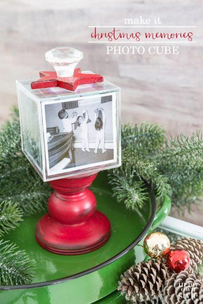 Christmas Memories Photo Cube on Pedestal