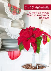 Christmas decorating ideas that are fast and affordable to do. #Christmashacks #Christmasdecorating #poinsettia #garlandties