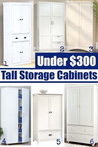 Affordable storage cabinets to hold craft supplies, pantry items or become a closet in your home. #storagecabinets #prettystorage #affordablestorage #armoires