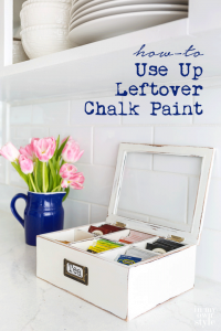 Before and after thrift store makeover using leftover chalk paint