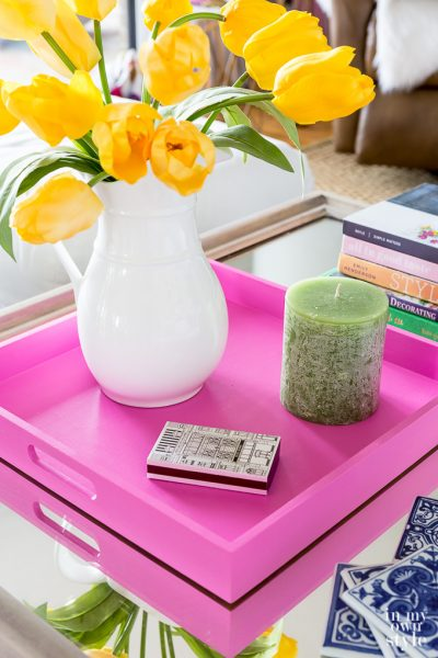 Spring Coffee Table Styling Tray Hack