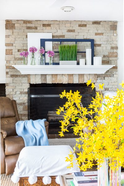Spring Mantel Decor Using Repurposed Items