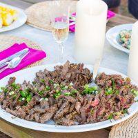 Fast Fire Flank Steak recipe that is cooked on a grill