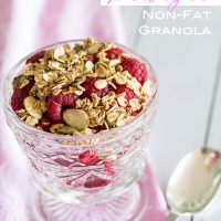Weight-Watchers-Freestyle-points-recipe-for-non-fat-granola. #weightwatchers #weightwatchersrecipes #weightwatchersfreestyle #granolarecipe #nonfatrecipes #lowfatrecipes #granola