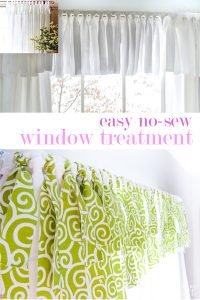 Pinning graphic showing how to make a no sew window valance
