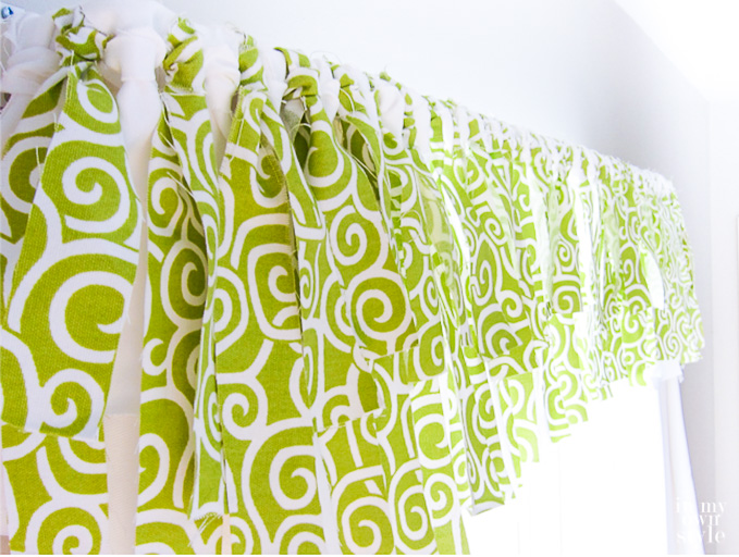 Lime and green fabric no sew window valance