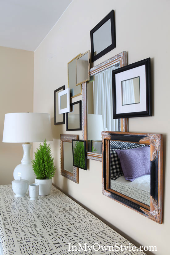 how to create a 3D gallery wall using small framed mirrors