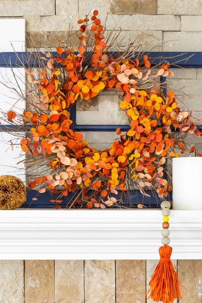 Fall wreath on mantel
