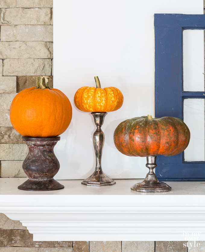 Pumpkin Decorating Ideas using candle holders
