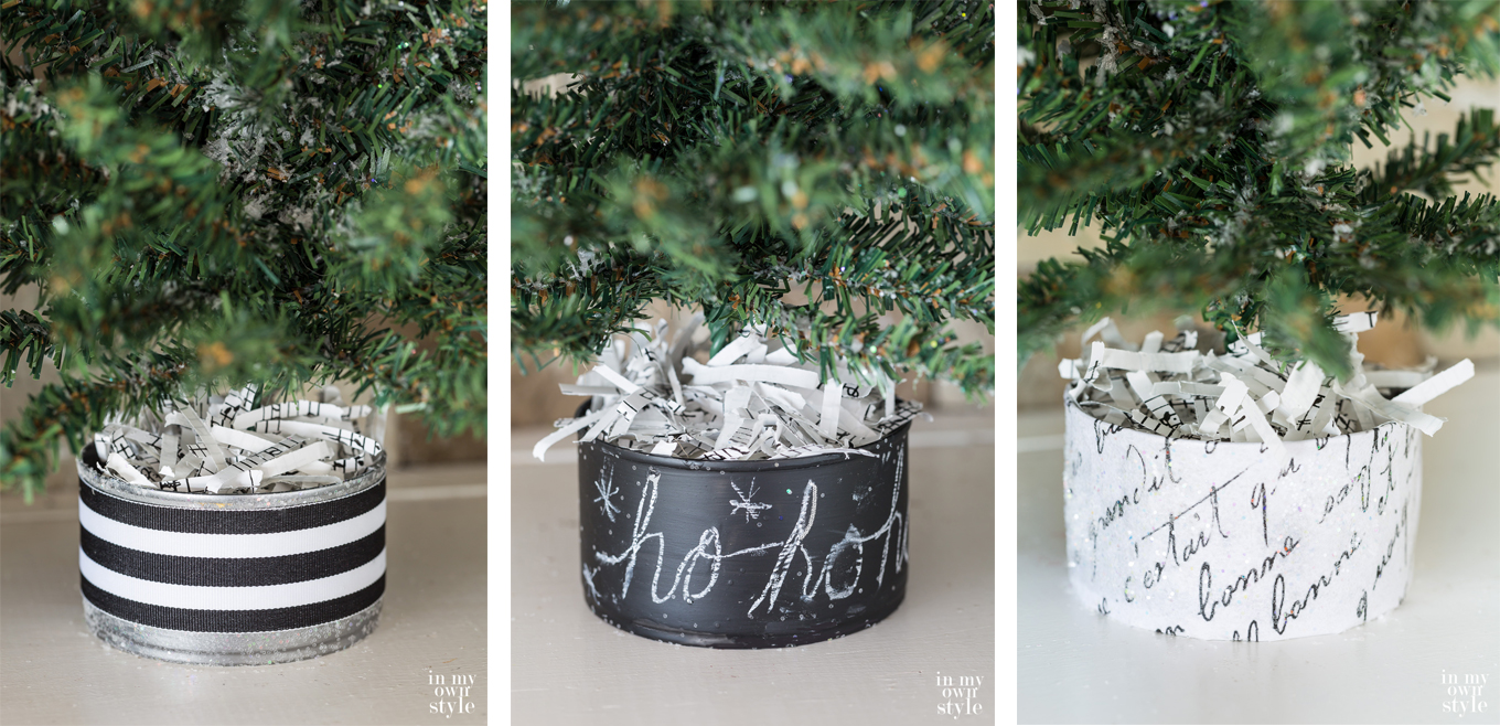 Mini Christmas tree bases restyled using paint, ribbon and glitter.