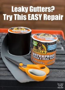 Gorilla-Glue-waterproof-patch-and-seal-tape on ladder