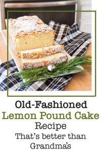 Old Fashioned lemon pound cake on white tray