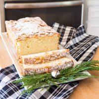 Just baked Old Fashioned lemon pound cake on white plate
