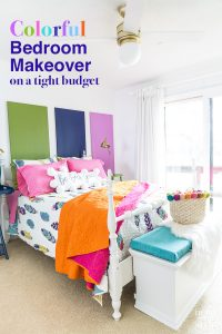 Colorful guest bedroom with white walls and pops of vivid color throughout the room.