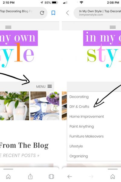 phone screen shot of In my own style blog secondary navigation menu